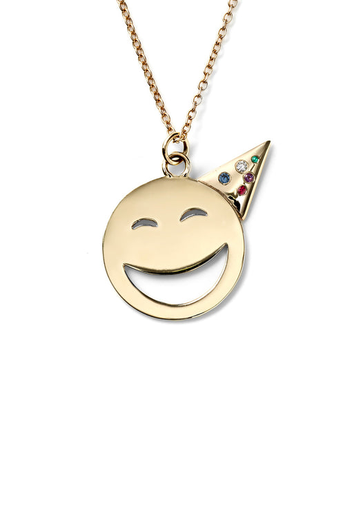 14K Gold Large Party Face with Gems Necklace