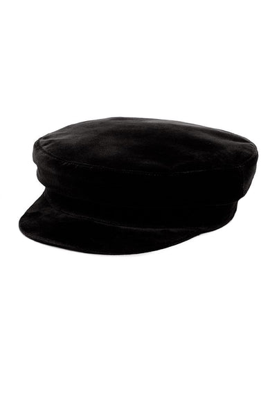 Janessa Leone Mattie Velvet Fisherman Cap in Black