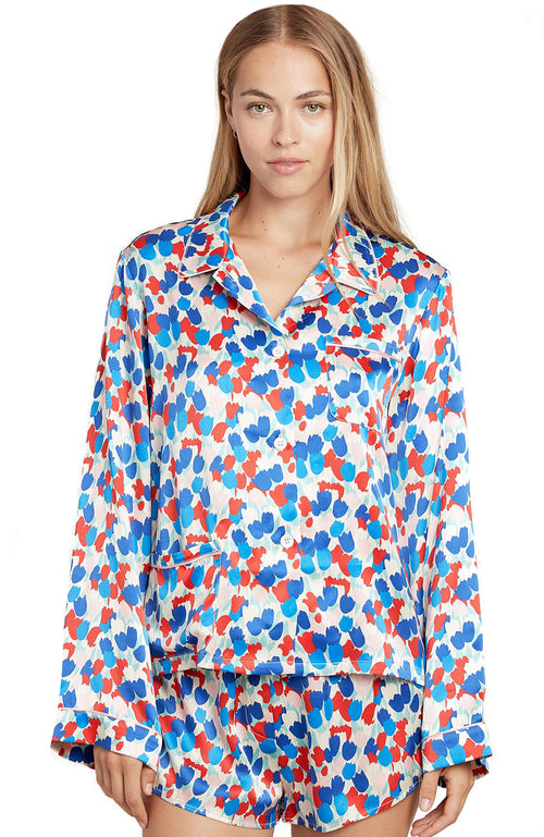 Ruthie Painted Tulip Silk PJ Top