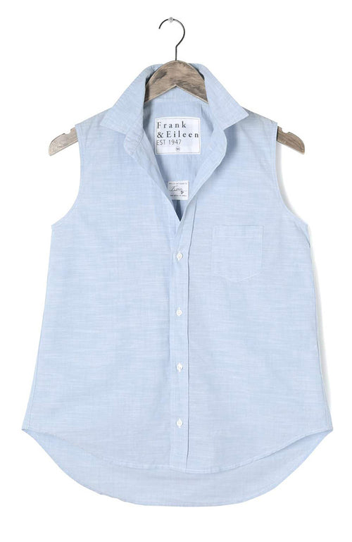 Fiona Sleeveless Solid Chambray Shirt