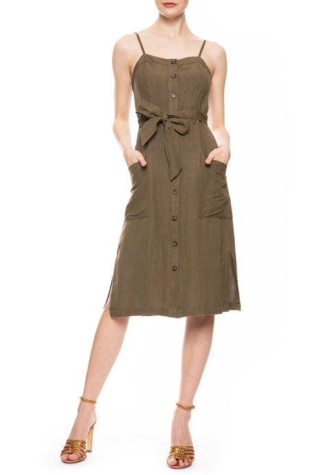 Evie Linen Button Dress