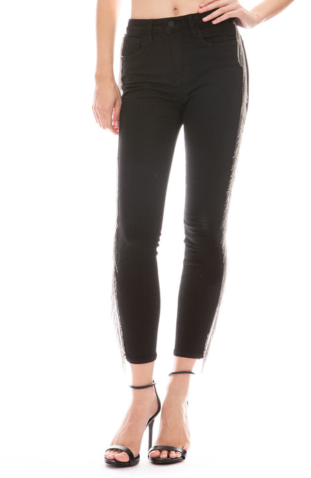 Margot High Rise Jean with Chain Fringe