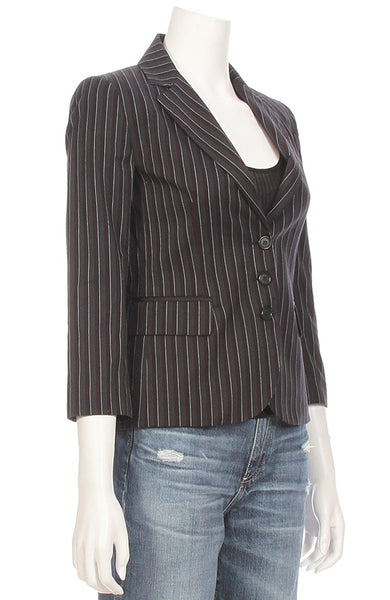 Ron Herman Exclusive Striped Schoolboy Blazer in Green / Navy ON SALE at Ron Herman