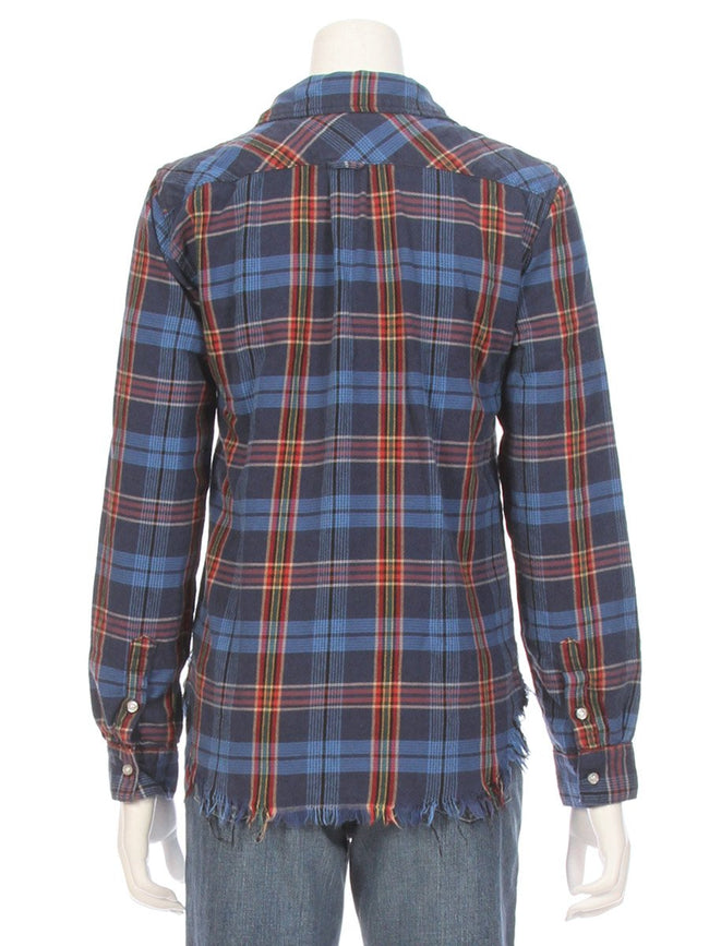 Raw Edge Plaid Shirt