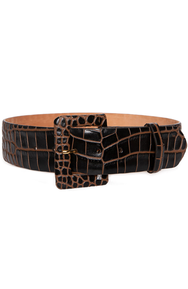 Embossed Crocodile Belt with Covered Buckle