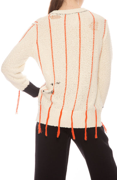 Striped Cotton Boucle Sweater