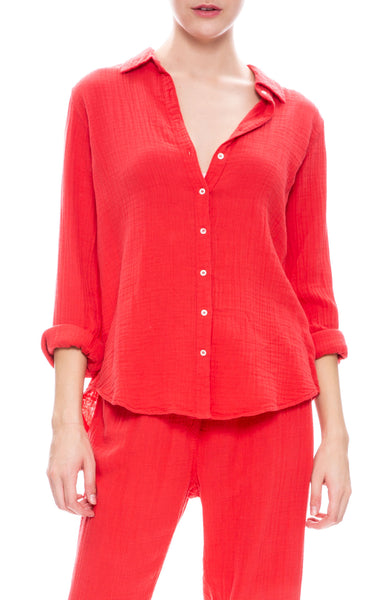 Xirena Scout Gauze Button Down Shirt in Red Rock at Ron Herman