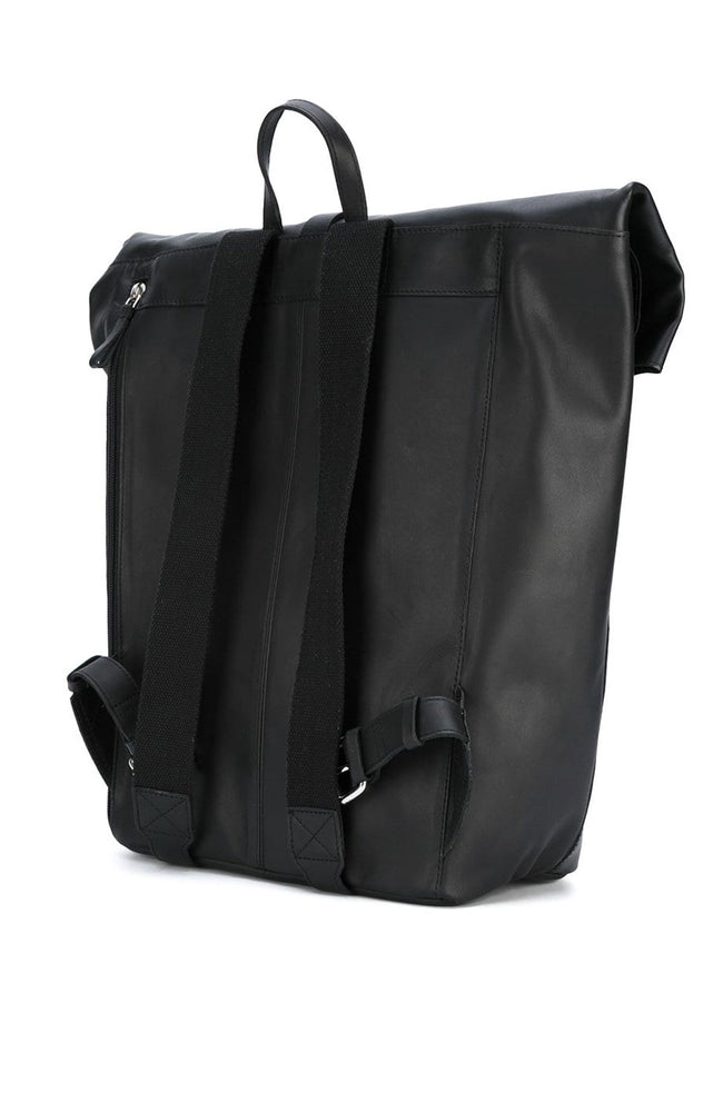 Sandqvist Antonia Roll Top Leather Backpack in Black