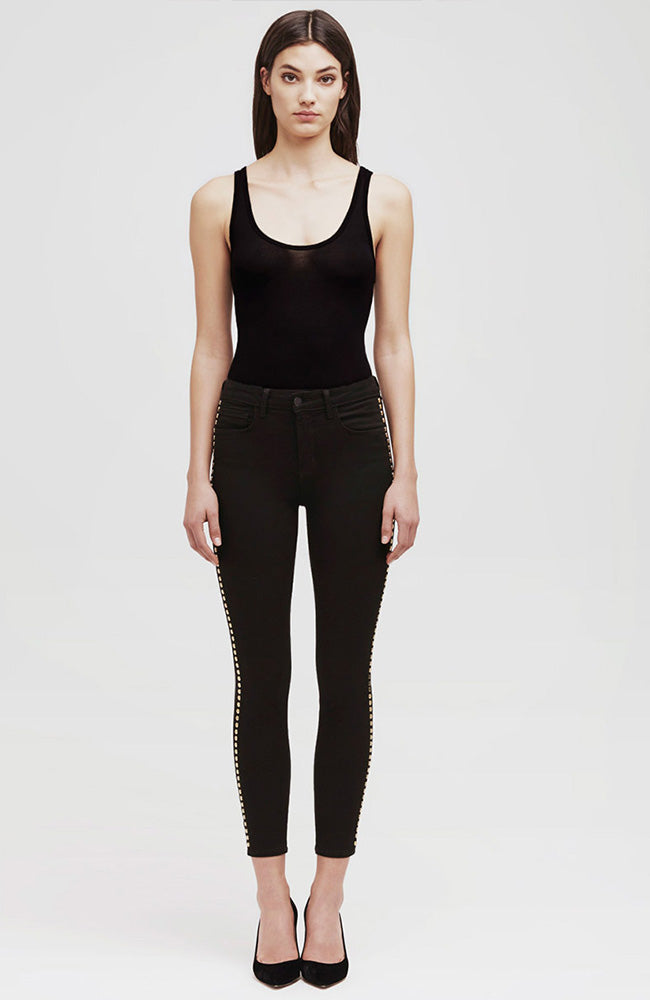 The Margot Studded High Rise Ankle Skinny in Noir