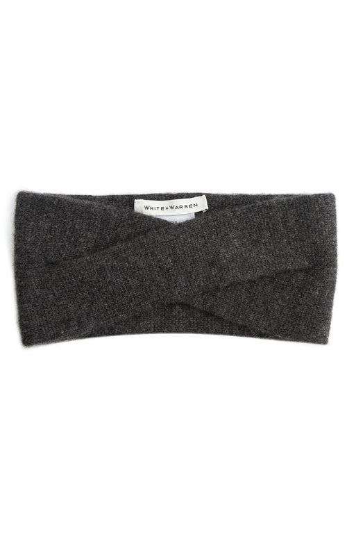 White + Warren Cashmere Crossover Headband in Charcoal Heather