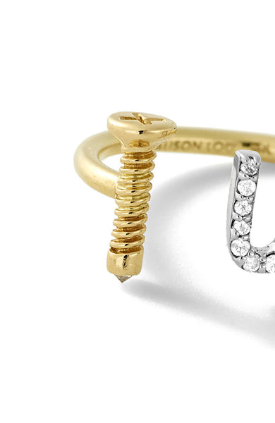14K Gold Screw U Ring