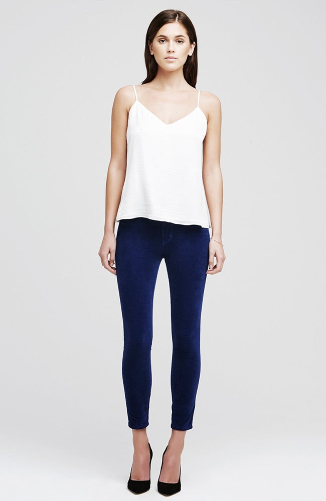 The Margot Velvet High Rise Ankle Skinny in Royal
