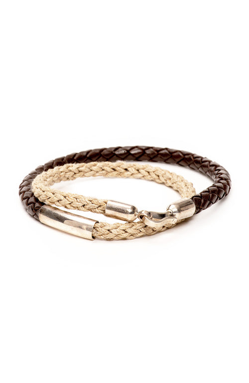Caputo & Co Leather Cord and Jute Double Wrap Bracelet at Ron Herman