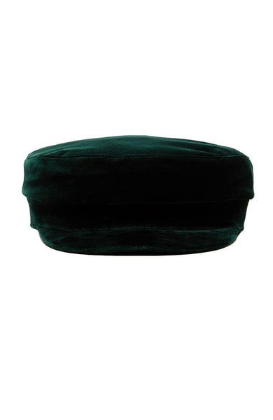 Janessa Leone Mattie Velvet Fisherman Cap in Emerald