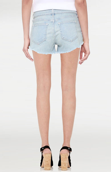 Zoe Distressed Perfect Fit Shorts in Powder
