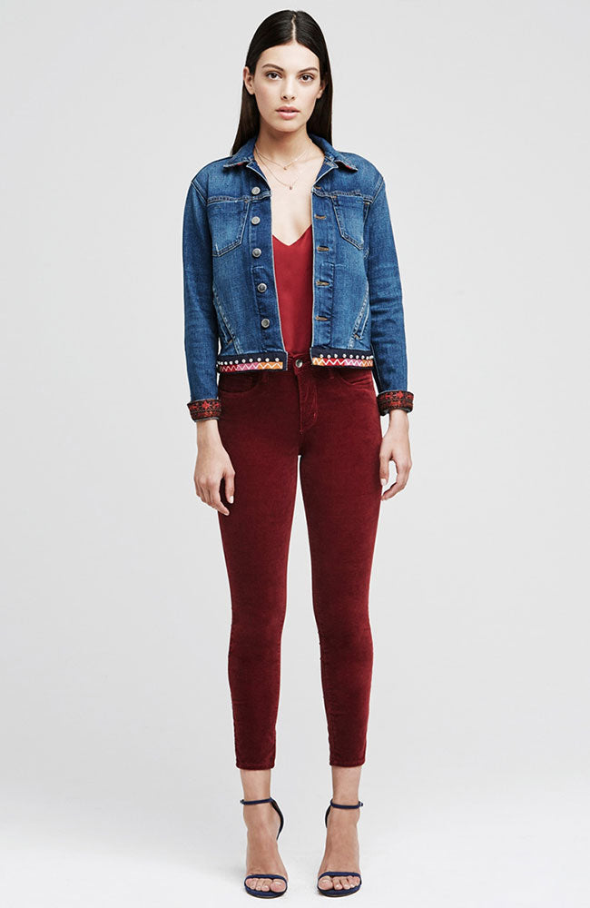 The Margot Corduroy High Rise Ankle Skinny in Wine