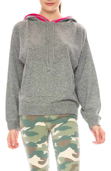 Jumper 1234 Contrast Stripe Cashmere Hoodie in Grey / Pink