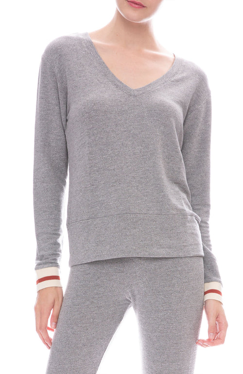 Monrow Supersoft Elastic Cuff Sweatshirt in Dark Heather
