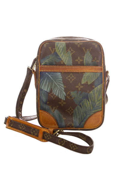 New Vintage Hand Painted Palm Print Louis Vuitton Danube Crossbody Purse
