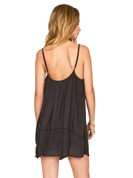 Amuse Society Beach Affair button front cami dress in black
