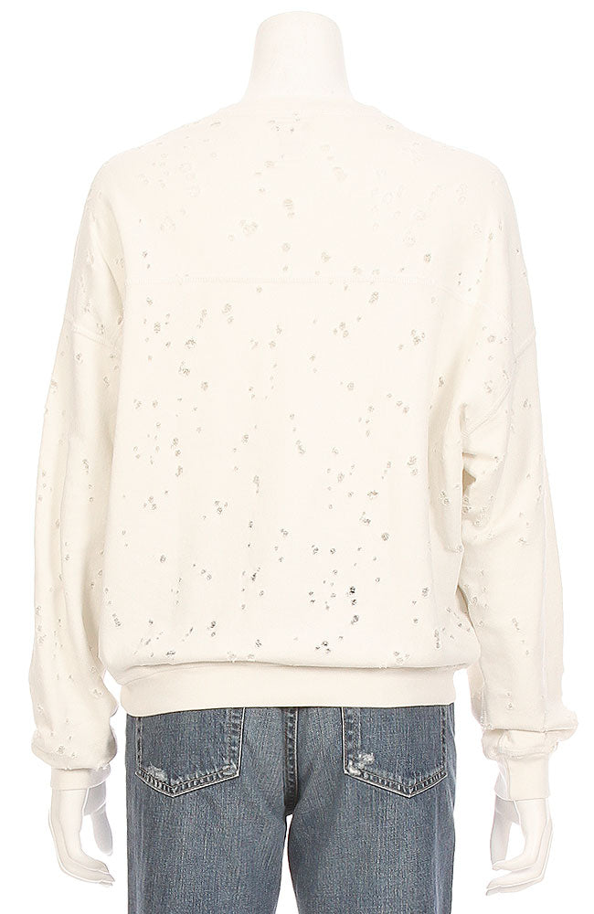 Terry Destroyed Lace Up Sweatshirt
