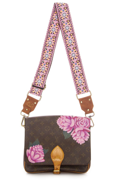 New Vintage Hand Painted Palm Peony Print Vuitton Cartouchiere Crossbody Purse