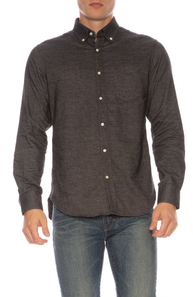 Brushed Cotton Oxford Button-Front Shirt
