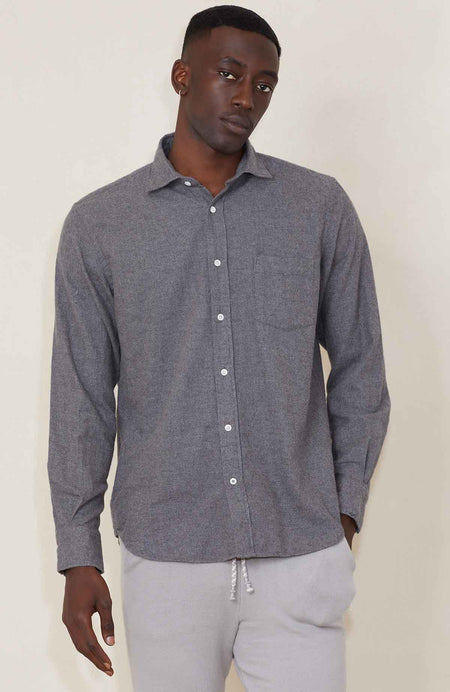 Paul Cotton Woven Shirt - Grey/Navy