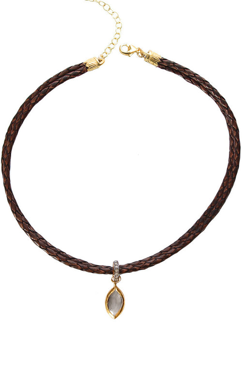 Braided Leather Choker with Charm
