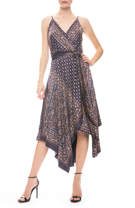 Scarf Print Wrap Dress