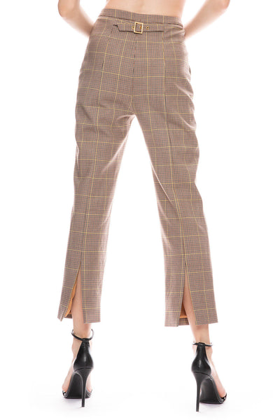 Glen Plaid Buckle Back Trouser