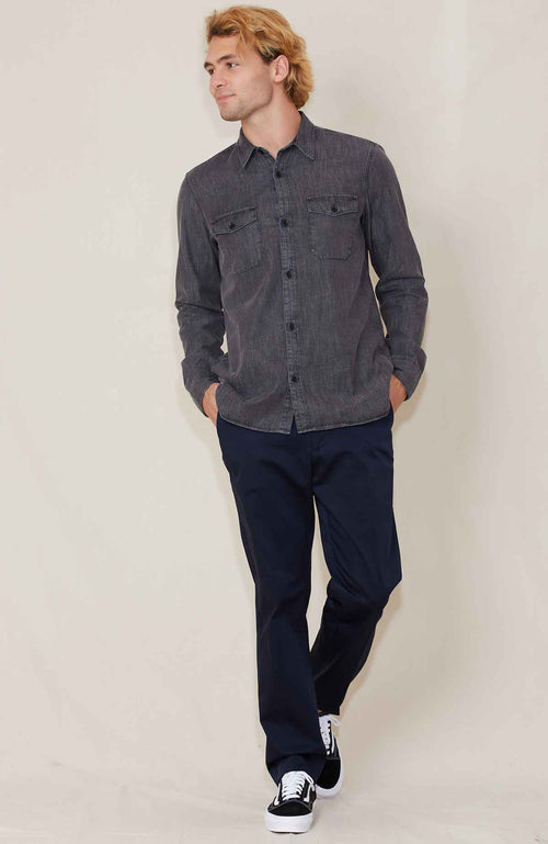 Officine Generale Amar Washed Denim Shirt