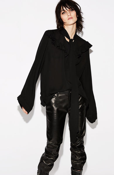 Cropped French Military Leather Pant