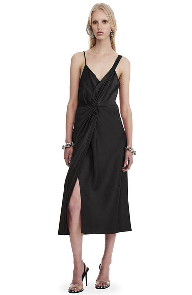 Draped Satin Sleeveless Knot Front Dress