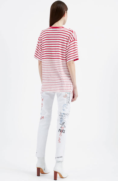Cuarenbo Mixed Stripe Distressed Tee