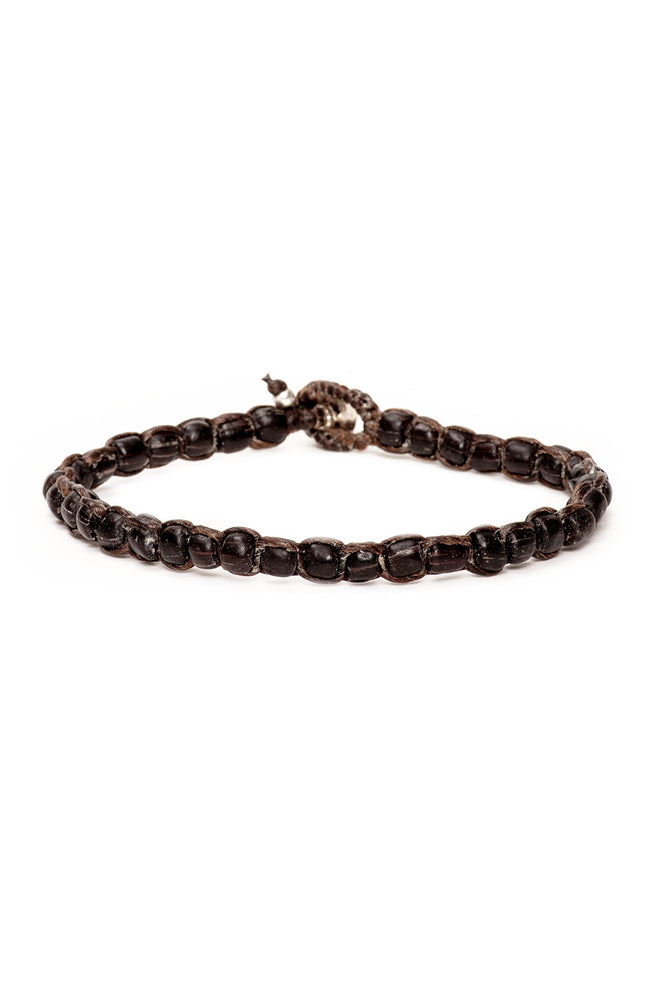 Caputo & Co. Handwoven Recycled Glass Bead Bracelet in Dark Brown at Ron Herman