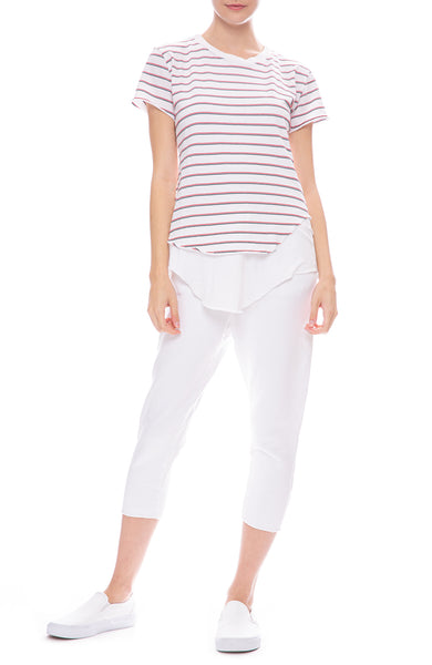 Frank & Eileen Tee Lab Stripe Round Hem T-Shirt with Jersey Tank and White Sweatpants