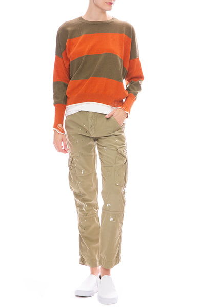 NSF Basquiat Cargo Pocket Pant with Striped Sweater