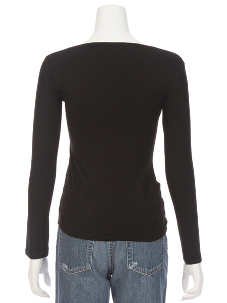 Karlie Faux Wrap Long Sleeve Top