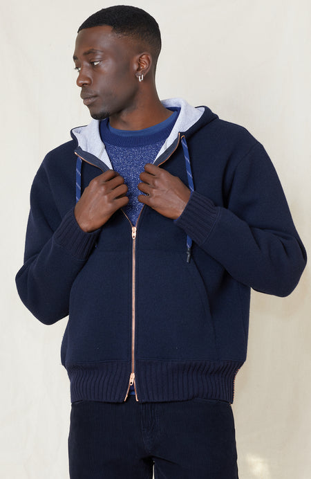 Bonded Pure Cashmere Zip Hooded Bomber