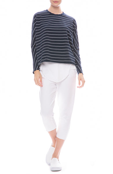 Frank & Eileen Tee Lab Long Sleeve Striped Tee with Jersey Tank and White Sweatpants