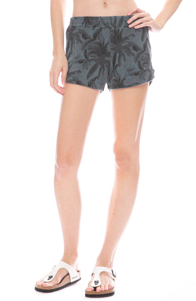 Monrow Palm Print Lounge Shorts in Vintage Black