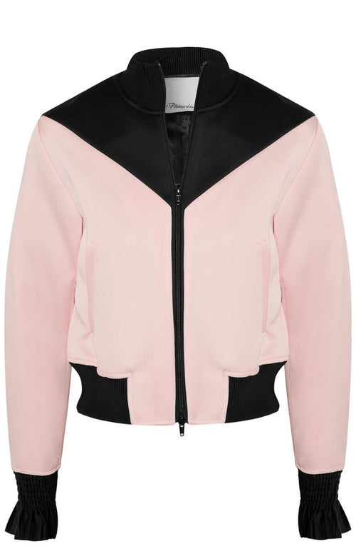 Color Block Ruffle Sleeve Bomber Jacket