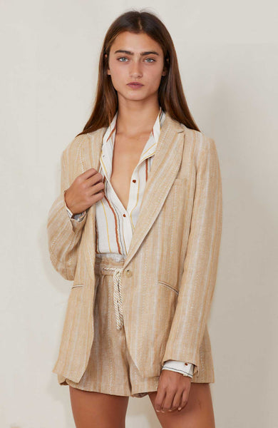 FORTE FORTE Cotton Linen Herringbone Jacket