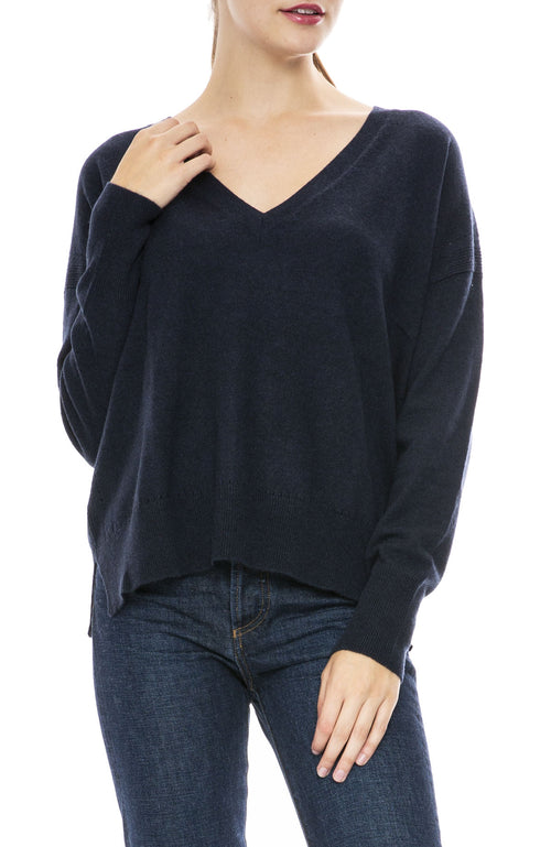 Autumn Cashmere Relaxed V Neck Sweater in Navy