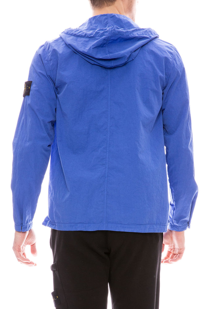 Stone Island Button Up Hooded Over Shirt in Periwinkle