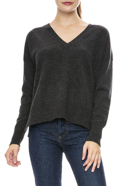 Autumn Cashmere Relaxed V Neck Sweater in Pepper