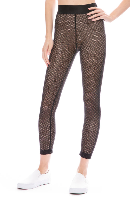 John Elliott Selma Sheer Lace Leggings in Black