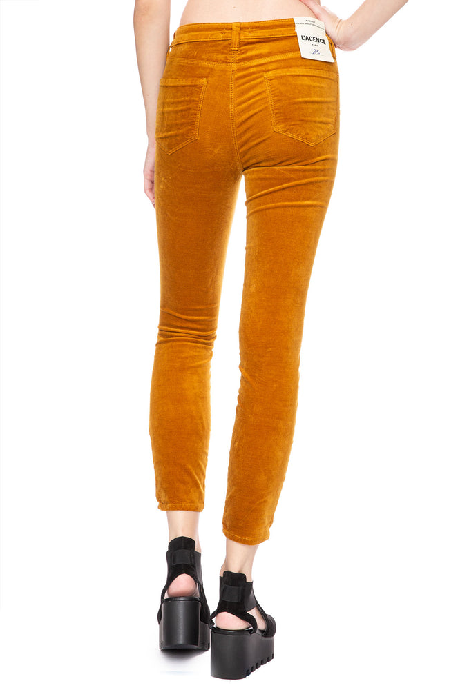 L'Agence Margot Velvet High Rise Ankle Skinny in Gold at Ron Herman