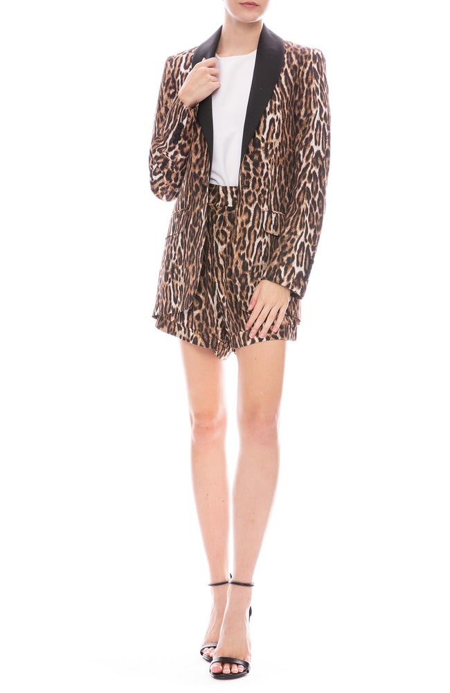 Pleated High Rise Leopard Shorts